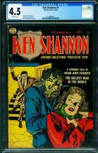 Ken Shannon #7 CGC 4.5 1952- Reed Crandall- Weird Menace cover-horror 2116092025