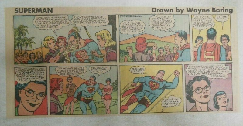 Superman Sunday Page #1129 by Wayne Boring from 6/4/1961 Size ~7.5 x 15 inches