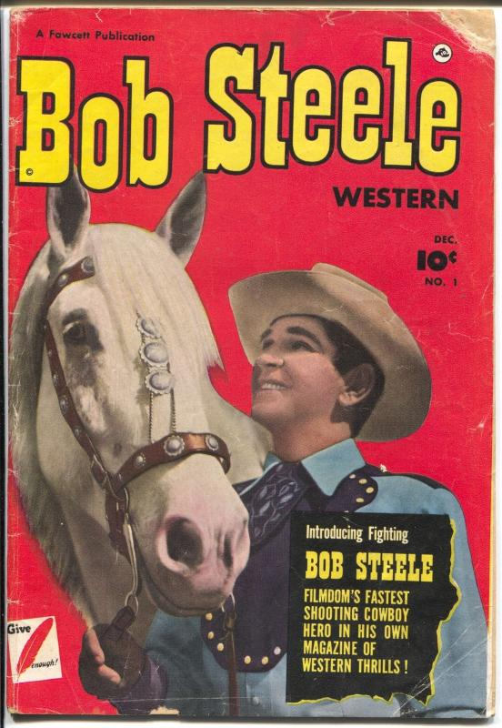 Bob Steele #1 1950-Fawcett-1st issue-photo covers-B-western star-G/VG