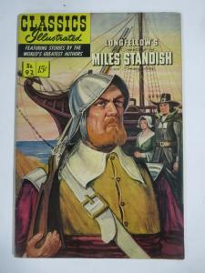 CLASSIC ILLUSTRATED #92 (VG+) MILES STANDISH (1ST Edition, HRO=92)Feb 1952