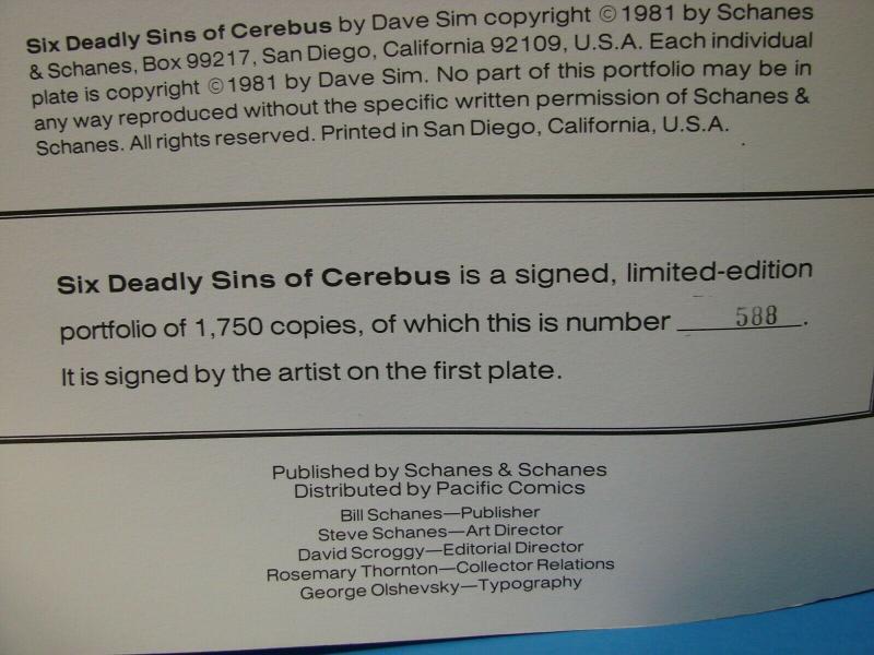 Cerebus Six Deadly Sins Dave Sims Portfolio #588/1750 Signed 6 Plates
