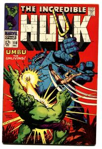 INCREDIBLE HULK #110 comic book 1968-MARVEL COMIC-JOHN SEVERIN fn+