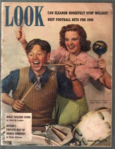 Look 10/8/1940-Mickey Rooney-Judy Garland-Rita Hayworth-Hitler-WWII-VG