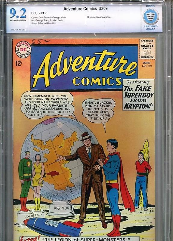 ADVENTURE COMICS  #309  CBCS  9.2  OW/W PAGES  (1963)  RARE EARLY 60's DC