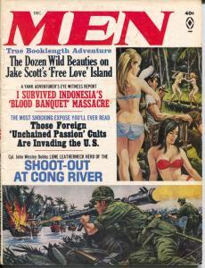 Men 12/1966-Atlas- Viet Nam-Indonesia Massacre-cheesecake-Norem-Pollen-VG