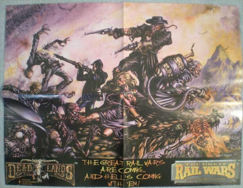 DEAD LANDS Promo poster, Rail Wars, 1997, 22x17, Unused, more Promos in store