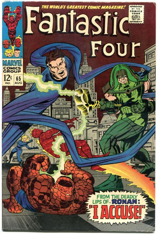 FANTASTIC FOUR #65, FN+, 1st Ronan, Kree, Jack Kirby, 1961,more FF in store, QXT