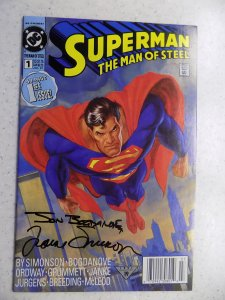 SUPERMAN MAN OF STEEL # 1 DC SIGNED SIMONSON AND BOGDANOVE ACTION