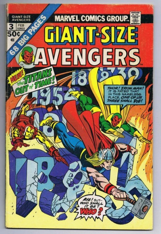 Giant Size Avengers #3 ORIGINAL Vintage 1975 Marvel Comics