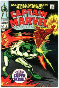 CAPTAIN MARVEL #2, VF, Gene Colan, Super Skrull 1968, more CM in store