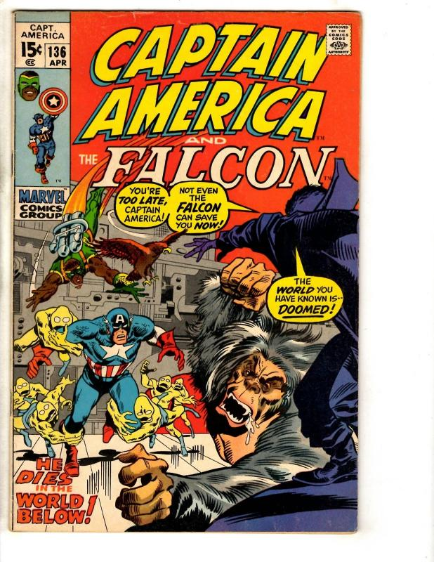 Captain America # 136 VF/NM Marvel Comic Book Falcon Avengers Iron Man Hulk TD1