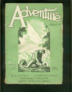 ADVENTURE PULP--3/1/1927-TUTTLE-PENDEXTER-ROCKWELL KENT VG