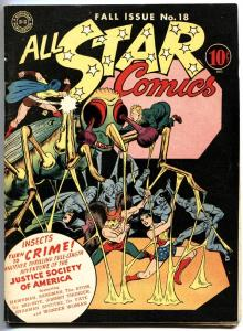 ALL STAR COMICS #18 Sandman. Wonder Woman. Spectre. High Grade. 1943