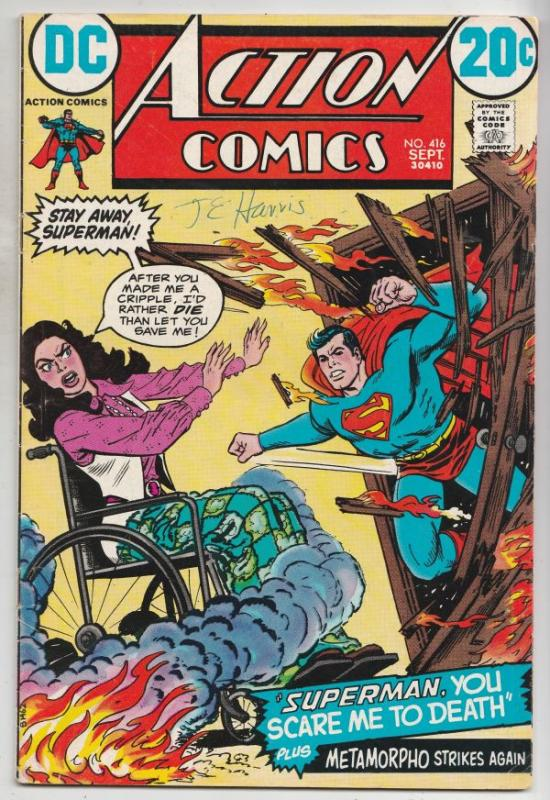 Action Comics Double Cover #416 (Sep-72) VG/FN+ Mid-Grade Superman