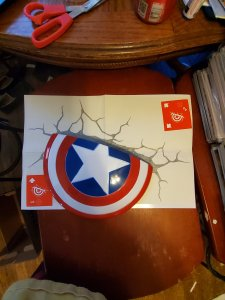 Captain America wall shield with sticker