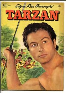 TARZAN #32-1952-DELL-BURROUGHS-MARSH-LEX BARKER PHOTO COVER-vg