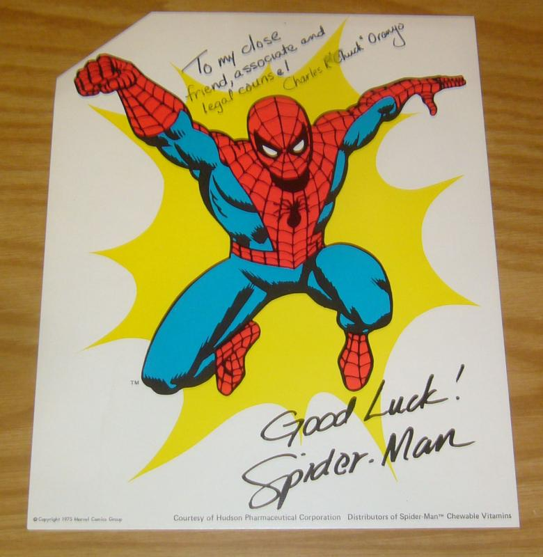 1975 Spider-Man page inscribed to Chuck and signed Good Luck! Spider-Man