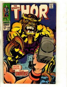 Thor # 155 FN- Marvel Comic Book Loki Odin Sif Avengers Hulk Iron Man GK4