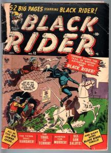 BLACK RIDER #12-1951-JOE MANEELY-great cover-GOLDEN AGE-G G