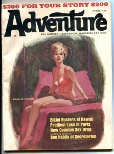Adventure Magazine April 1966- Gogos- cheesecake VG