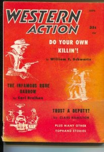 Western Action 9/1958-hard to locate-post pulp titles in digest form-G/VG