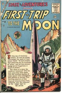 SPACE ADVENTURES #20-1956-CHARLTON-FIRST TRIP TO THE MOON-ROCKET COVER-HY GRADE