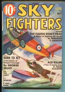 SKY FIGHTERS 5/1937-AIR WAR PULP-THRILLS-EARLY SPEEDBOAT-fn