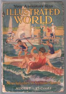 Illustrated World 8/1916-canoe battle-human misfits-pulp format-G
