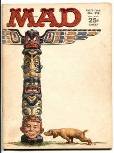 Mad Magazine #74 1962-ALFRED E. NEUMAN-Totem Pole cover FN