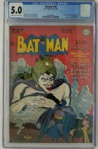 1948 DC ~ Batman #49 CGC 5.0 (VG/FN); 1st App. of Vicki Vale & Mad-Hatter