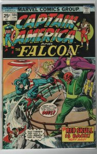 Captain America #184 The Red Skull is Back! FVF date stamp on back ow pages