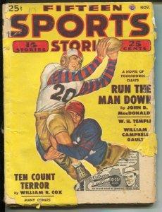 Fifteen Sports Stories 11/1949-John D MacDonald football story-boxing-hockey-G-