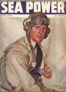 Sea Power 5/1943-McClelland Barclay cover art-war pix &info-rare-VG