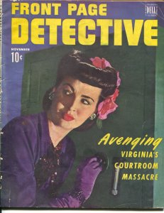 Front Page Detective 11/1940-Dell-one armed woman-female safe cracker-G