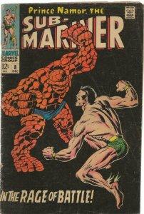 Sub Mariner #8 ORIGINAL Vintage 1968 Marvel Comics Hulk Battle Namor