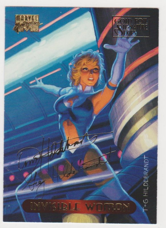1994 Marvel Masterpieces Gold Foil Signature Series #55 Invisible Woman/Hilderbr