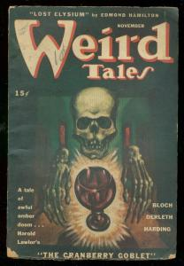 WEIRD TALES NOV 1945-WILD SKULL COVER-DERLETH-BLOCH VG