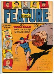 Feature Comics #118 1948- DOLL MAN- Mr Skeleton VG-