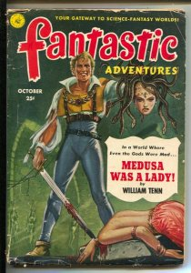 Fantastic Adventures 10/1951-bloody decapitation cover- Medusa Was A Lady-W...