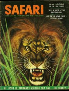 Safari Pulp Magazine August 1956- Hunting- Lion cover- Borneo Diamonds VG