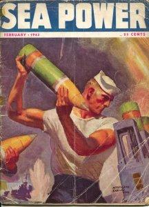 Sea Power 2/1943-McClelland Barclay cover art-war pix &info-rare-G
