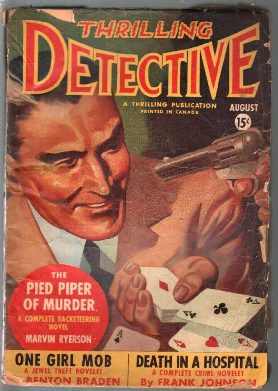 Thrilling Detective 8/1942-cards-aces-nystery cover-Canadian variant-VG