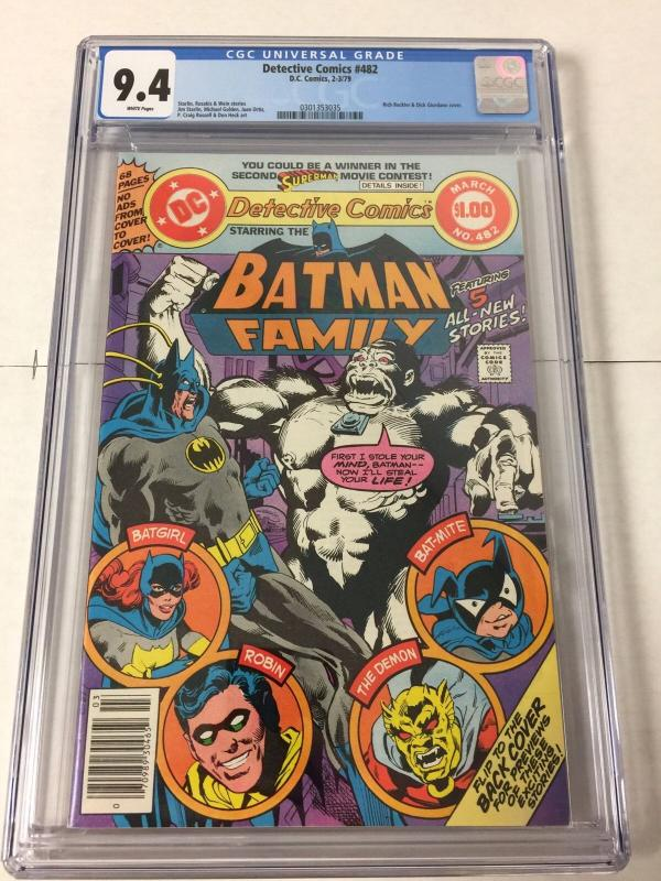 Detective Comics 482 Cgc 9.4 White Pages