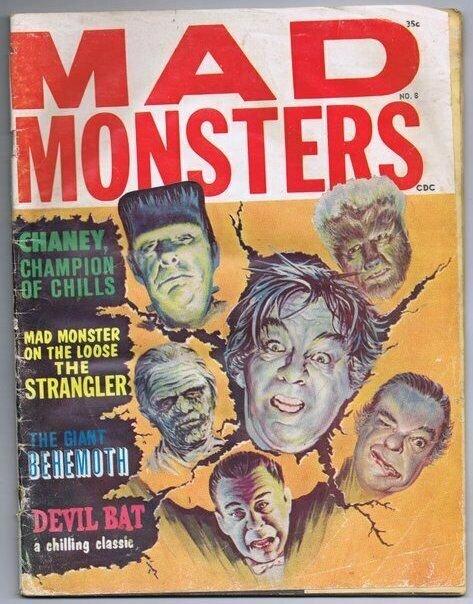 ORIGINAL Vintage Summer 1964 Charlton Mad Monsters Magazine #8 Lon Chaney