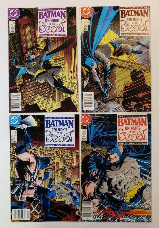 BATMAN #417-420 (TEN NIGHTS OF THE BEAST) 4 ISSUE SET DC COMICS 1988 VF/VF+