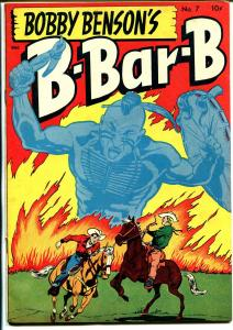 Bobby Benson's B-Bar-B Riders #7 1951-ME-Indian attack flaming cover-Powell-VG