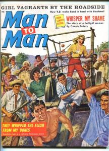 MAN TO MAN-SEPT 1963-BARBED WIRE CAGE-CHEESECAKE-TERROR-TORTURE-vg+
