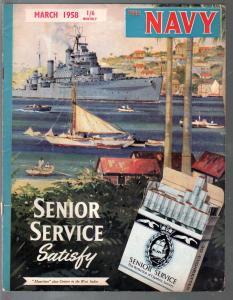 Navy 3/1958-Historic pix & info on British Navy-VG