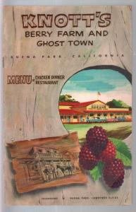 Knott's Berry Farm & Ghost Town Chicken Dinner Restaurant Menu-1957-historic CA-