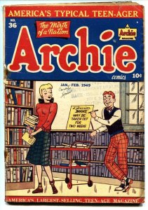 ARCHIE #36 comic book-1949-LIBRARY COVER-TALKING TO LIBRARIAN